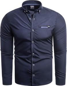 Niebieska koszula Risardi z kołnierzykiem button down z długim rękawem