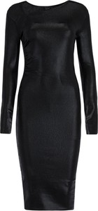 Czarna sukienka Pinko midi z asymetrycznym dekoltem dopasowana