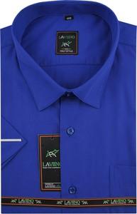 Niebieska koszula Laviino z krótkim rękawem z tkaniny