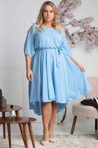 Niebieska sukienka KARKO mini z okrągłym dekoltem z długim rękawem