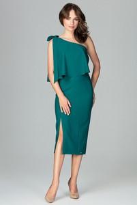 Sukienka sukienki.pl z asymetrycznym dekoltem midi