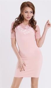 7d50363fbd sukienka z koronką u góry. Różowa sukienka Emamoda z krótkim rękawem
