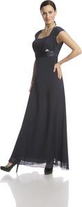 Czarna sukienka Fokus z krótkim rękawem rozkloszowana z przeźroczystą kieszenią