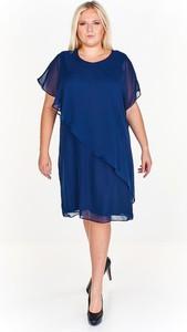 Granatowa sukienka Fokus oversize z dzianiny
