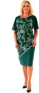 Zielona sukienka Roxana - sukienki z krótkim rękawem z szyfonu midi