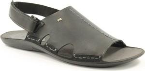 Czarne buty letnie męskie NIK ze skóry