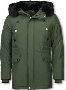 Zielona kurtka ENOS długa w stylu casual