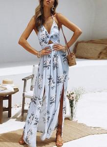 Niebieska sukienka Cikelly maxi na ramiączkach