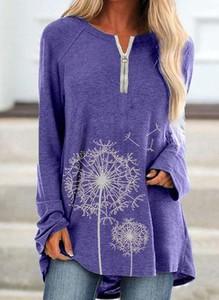 Fioletowa bluzka Cikelly z dekoltem w kształcie litery v