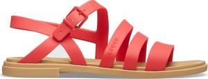 Czerwone sandały Crocs z płaską podeszwą w stylu casual