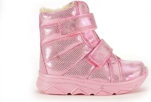 Różowe buty dziecięce zimowe Kornecki dla dziewczynek na rzepy