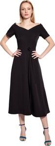 Czarna sukienka Lanti midi z krótkim rękawem