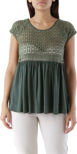 Zielona bluzka Cristina Gavioli z bawełny z krótkim rękawem