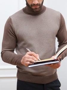 Brązowy sweter Lanieri z żakardu