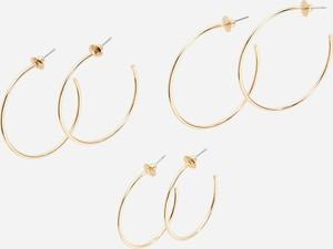Reserved - 3 pary kolczyków różnej wielkości - Złoty