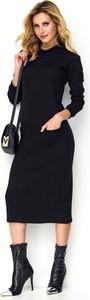 Czarna sukienka Makadamia z długim rękawem midi
