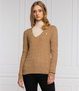 Brązowy sweter POLO RALPH LAUREN w stylu casual z wełny