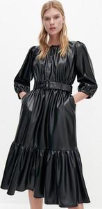 Czarna sukienka Reserved z długim rękawem ze skóry ekologicznej