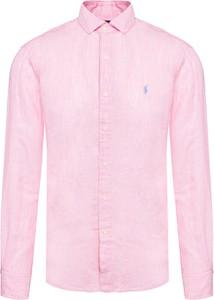 Różowa koszulka polo POLO RALPH LAUREN z długim rękawem z lnu