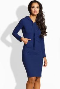 Niebieska sukienka Lemoniade z długim rękawem dopasowana
