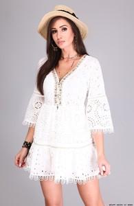 Sukienka Made in Italy w stylu boho z bawełny z dekoltem w kształcie litery v