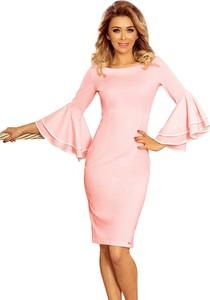 Różowa sukienka NUMOCO mini z długim rękawem z okrągłym dekoltem