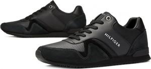 fb37632b73651 Czarne buty sportowe Tommy Hilfiger sznurowane ze skóry