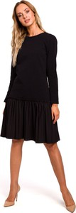 Sukienka MOE z długim rękawem z tkaniny z okrągłym dekoltem