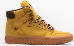 Żółte buty zimowe Supra z nubuku w sportowym stylu sznurowane