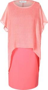 Różowa sukienka Fokus midi z krótkim rękawem koszulowa