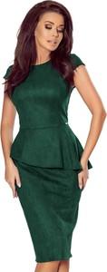 Sukienka Ptakmoda.com z krótkim rękawem z zamszu z okrągłym dekoltem