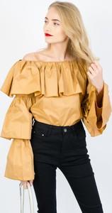 Brązowa bluzka Olika w stylu boho z długim rękawem