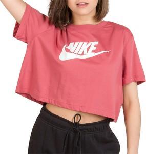 Różowy t-shirt Nike w sportowym stylu z okrągłym dekoltem z bawełny
