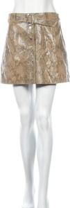 Brązowa spódnica ZARA mini w stylu casual ze skóry