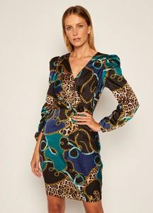 Sukienka Guess z długim rękawem z dekoltem w kształcie litery v mini