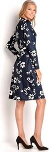 Granatowa sukienka Happy Holly kopertowa mini z dżerseju