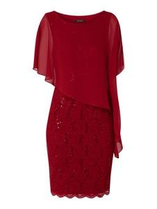 Czerwona sukienka Swing z krótkim rękawem w stylu glamour z okrągłym dekoltem