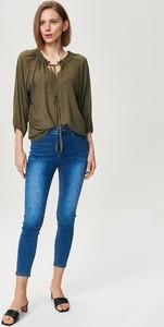 Zielona bluzka FEMESTAGE Eva Minge z długim rękawem z tkaniny