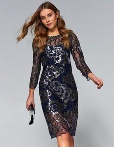 Granatowa sukienka Top Secret z okrągłym dekoltem z tkaniny w stylu casual