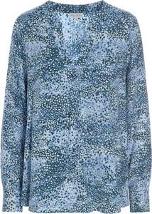 Niebieska bluzka Dea Kudibal z długim rękawem z jedwabiu
