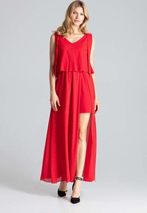 Czerwona sukienka Figl maxi bez rękawów