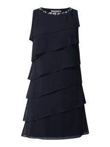 Sukienka Christian Berg Cocktail midi z szyfonu z okrągłym dekoltem
