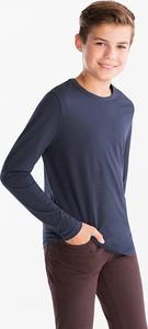 Niebieska koszulka dziecięca Here And There z bawełny z długim rękawem