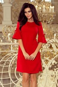 Czerwona sukienka NUMOCO midi z długim rękawem z okrągłym dekoltem