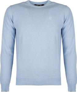 Niebieski sweter ubierzsie.com w stylu casual z okrągłym dekoltem
