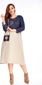 Sukienka Ptakmoda.com oversize z długim rękawem z okrągłym dekoltem