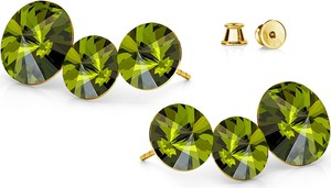 GIORRE SREBRNE POTRÓJNE KOLCZYKI SWAROVSKI RIVOLI 925 : Kolor kryształu SWAROVSKI - Olivine, Kolor pokrycia srebra - Pokrycie Żółtym 24K Złotem