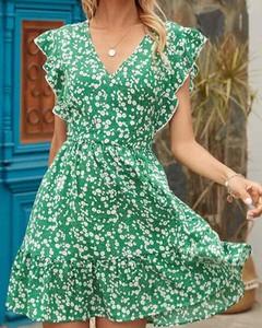 Zielona sukienka Kendallme z krótkim rękawem