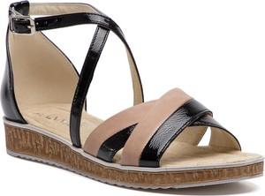 Sandały Ann-Mex na koturnie na niskim obcasie ze skóry