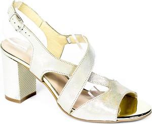 Złote sandały Gamis na obcasie z klamrami